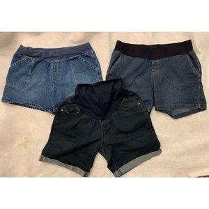 Lot Of 3 Womens Maternity Shorts Sz XL 1X Blue
